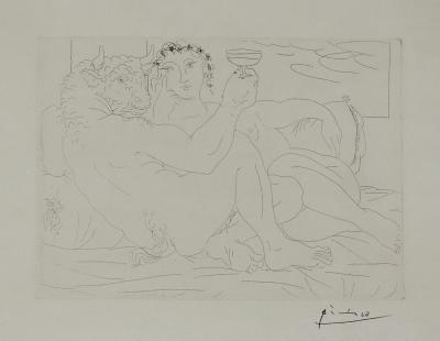 Pablo Picasso Pablo Picasso Signed Etching Minotaure une Coupe la Main et Jeune Femme 1939