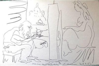 Pablo Picasso Pablo Picasso The Painter and His Model Original Lithograph 1962