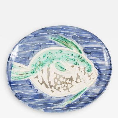 Pablo Picasso Striking Poisson Bleu Madoura Ceramic Plate by Pablo Picasso