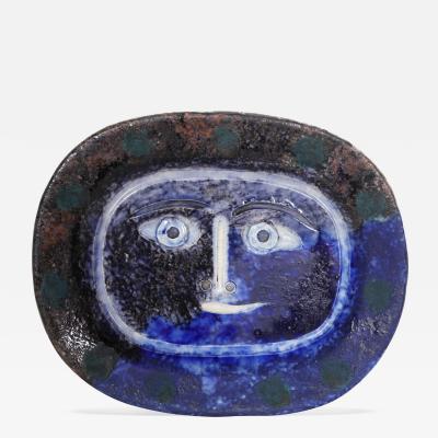Pablo Picasso Visage Brun Bleu Brown Blue Face