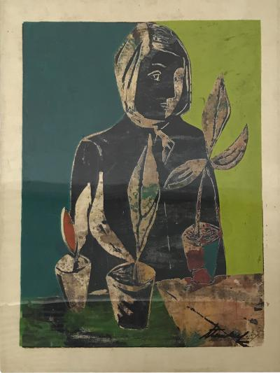 Pablo Picasso Wood Block Lithograph Still Life Abstract Wall Art