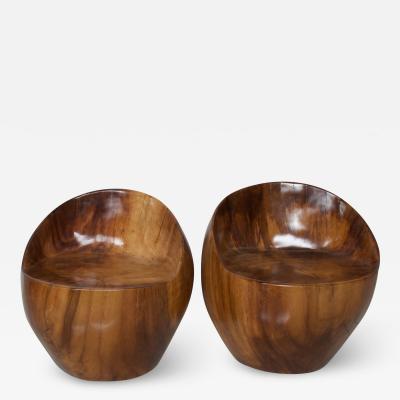 Pablo Romo Custom Barrel Tub Chairs Solid Wood Exotic PAROTA Don Shoemaker Organic Style