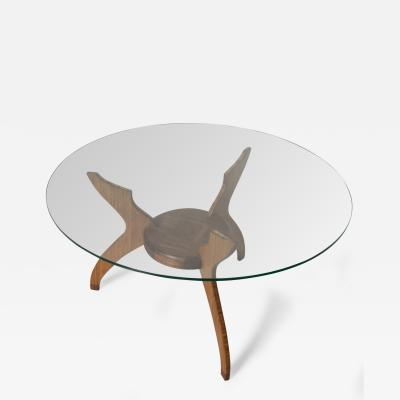 Pablo Romo Graceful Sculptural Side Round Table in Walnut Bamboo by AMBIANIC