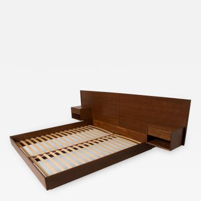 Pablo Romo Modern King Size Platform Bed with Floating Nightstands in Walnut