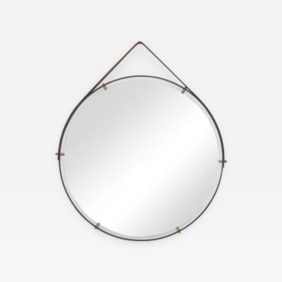 Pablo Romo Modernist Industrial Wall Mirror PABLEX with Leather Straps