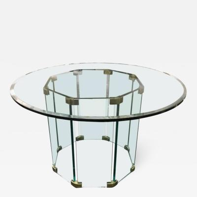 Pace Collection Round Top Glass Dining Table