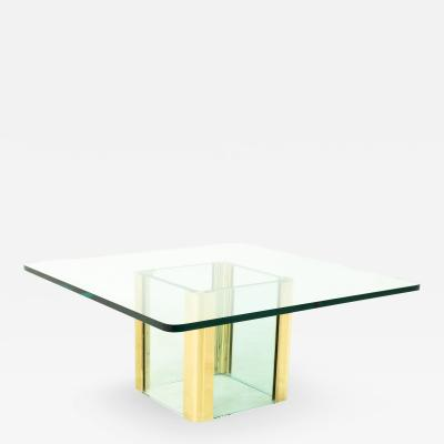 Pace Mid Century Brass and Glass Pedestal Base Coffee Table