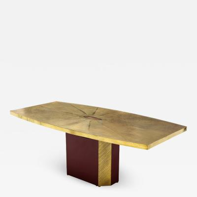 Paco Rabanne Rare and important acid etched brass dining table by Paco Rabanne