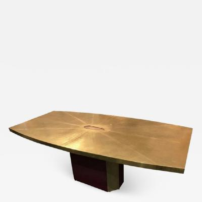 Paco Rabanne Rare and important acid etched brass dining table w agate inset by Paco Rabanne