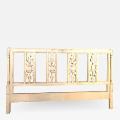 Paint Decorated Designer Swedish Style King Size Carved Bed Headboard