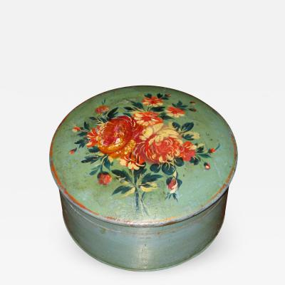 Painted Blue and Green Box with Floral Bouquet Decorated Lid