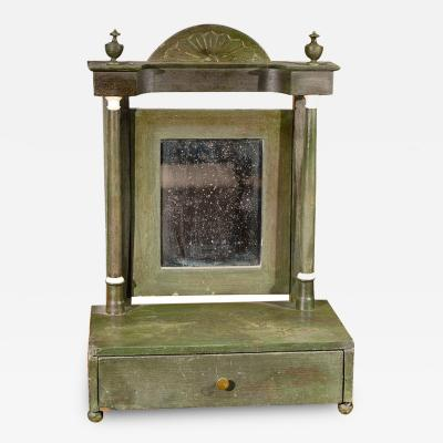 Painted Dressing Mirror with a Fan Carved and Urn Pediment Top