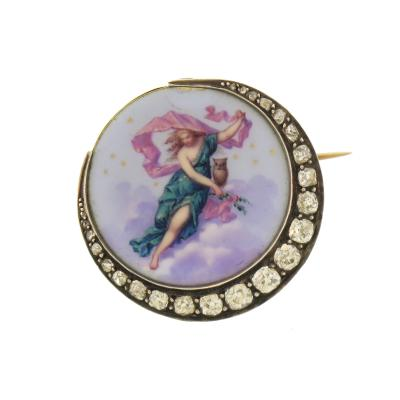 Painted Enamel and Diamond Crescent Moon Brooch