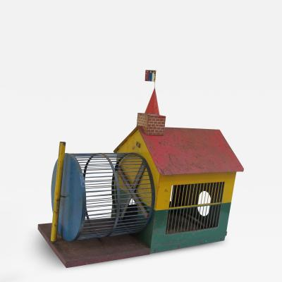 Painted Tin Squirrel House with Exercise Wheel