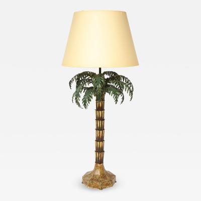 Painted Tole Palm Tree Lamp