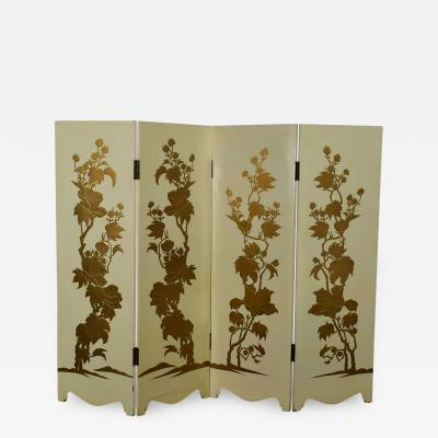 Painted off white hollywood regency boho chic four panel folding screen