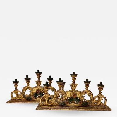 Pair 18th Century Spanish Colonial Altar Candelabra
