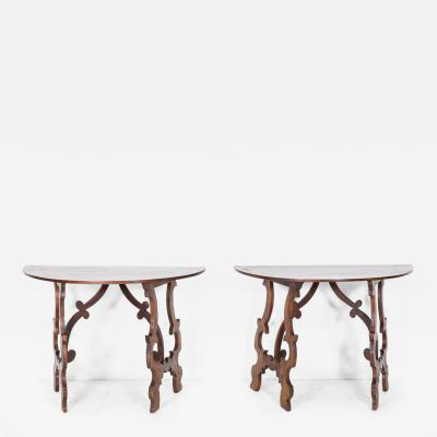 Pair 18thC Provincial Italian Walnut Demi Lunes Centre Table
