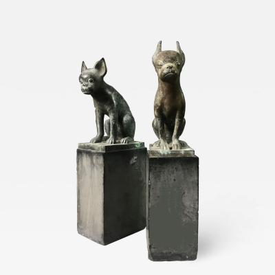 Pair 1920s Art Deco Solid Zinc French Bulldog Fireplace Chenets