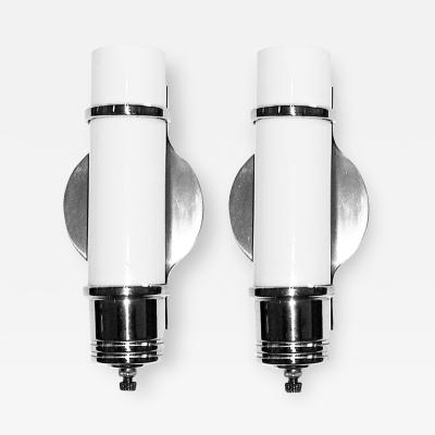 Pair 1930s Streamline Art Deco Wall Sconces With White Tubular Glass Inserts