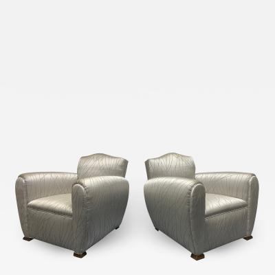 Pair 1940s Art Deco Club Chairs