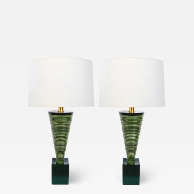 Pair 1950s Atomic Age Conical form Green Glazed Ribbed Lamps