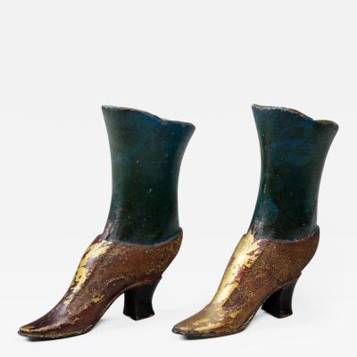 Pair 19th C painted and gilt wood Mannequin Shoes