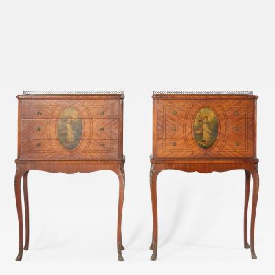 Pair 19th Century Adams Style Satinwood Tables Chests