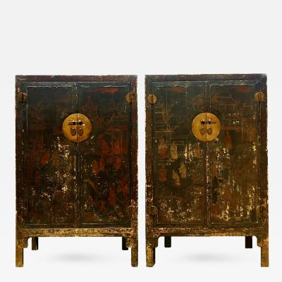 Pair 19th Century Chinese Antique Painted Cabinets