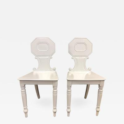 Pair 19th Century English White Lacquered Hall Chairs