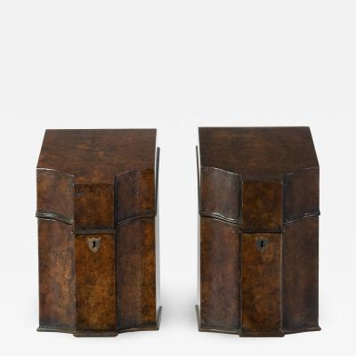 Pair 19th Century Faux Burl Painted Knife Boxes Fitted as Stationery Boxes