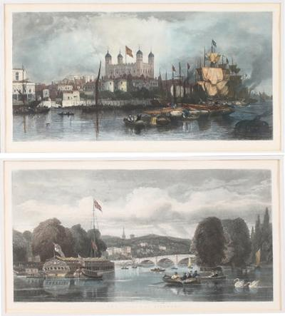 Pair 20th Century Gilt wood Frame Prints