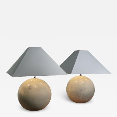 Pair American Modern Large Goatskin Sphere Lamps Karl Springer LTD