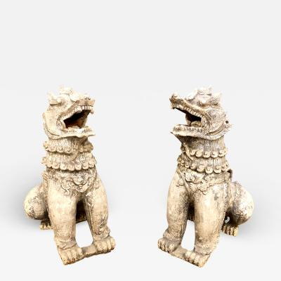 Pair Antique Chinese Buddhistic Lions