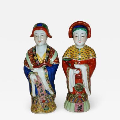 Pair Antique Emperor Empress Figure Figurine Statue Hand Painted Qing Dynasty