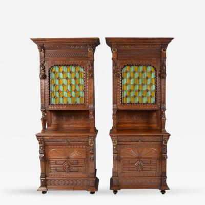 Pair Antique French Henri II Style Buffets Cabinets with Stained Glass Doors