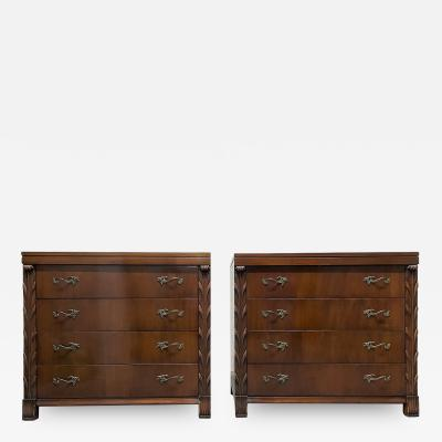 Pair Antique Style Mahogany Chests