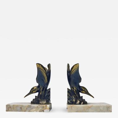 Pair Art Deco Bronze Kingfisher Bookends France C 1930