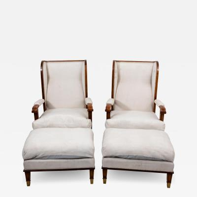 Pair Art Deco Chairs with Ottomans