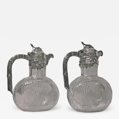 Pair Art Nouveau Silver and Glass Claret Jugs Germany C 1900