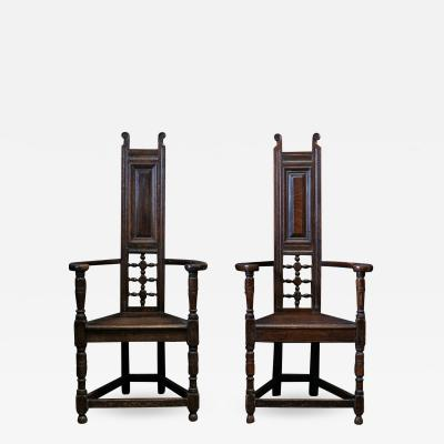 Pair Arts Crafts Oak Shakespeare Chairs