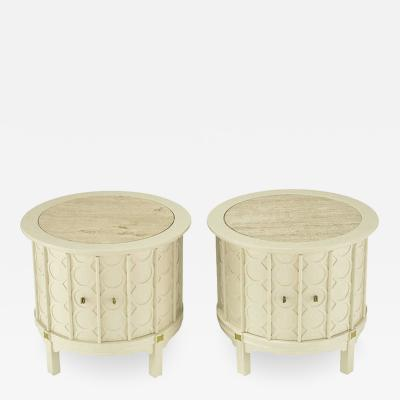 Pair Bone Lacquer Cylinder Tables With Circular Relief Travertine Inlaid Tops