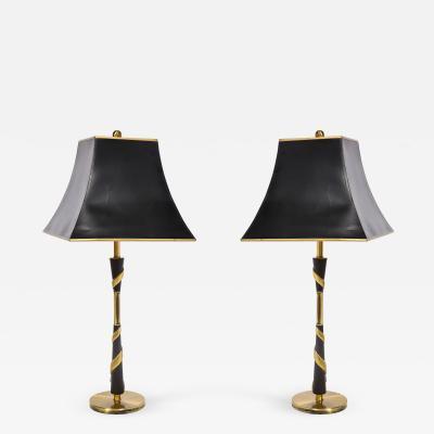 Pair Brass Swirl Lamps