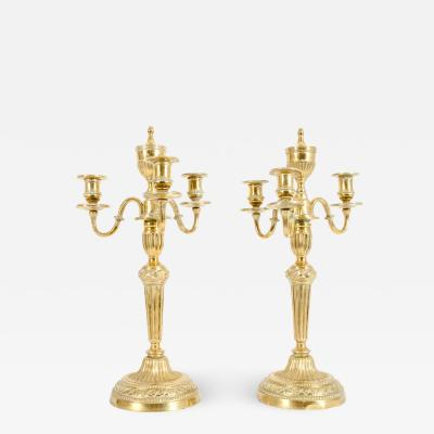 Pair Brass Three Light Arm Candelabras