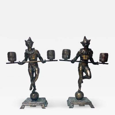 Pair Bronze Clown Candlesticks Sculptures Probably French C 1890
