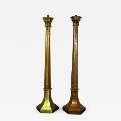Pair Bronze Column Lamps