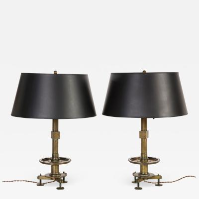 Pair Bronze Industrial Lamps