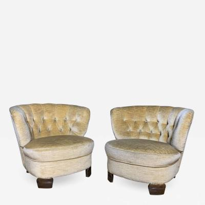 Pair C1940 Scandinavian Low Slipper Chairs Yellow Velvet