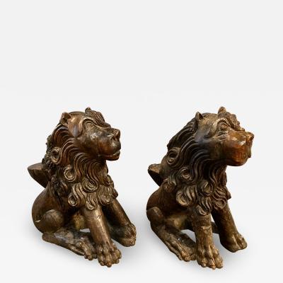 Pair Carved Renaissance Lions