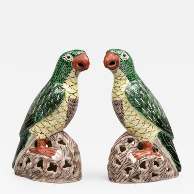 Pair Chinese Colorful Parrots Circa 1850